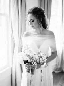 bride with bouquet black and white