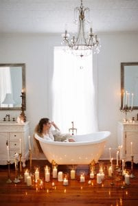 tub with candles