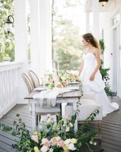 bride with tea table
