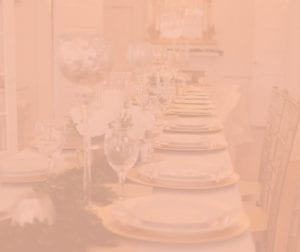 table setting with pink overlay