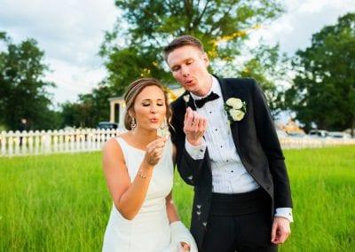 newlyweds making a wish