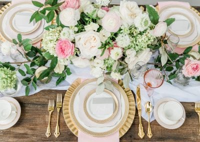pink floral place setting