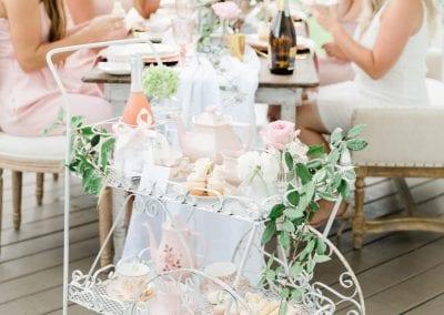 tea cart and bridesmaids